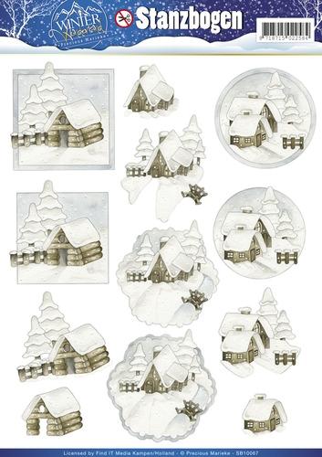 Schneebedeckte Häuser - Winter Wonderland - 3D - Stanzbogen SB10067