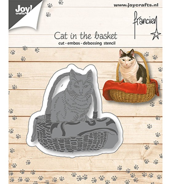 Katze im Körbchen - Stanzschablone