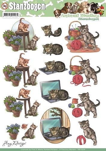 Katzen - Animal Medley - 3D - Stanzbogen - SB10026