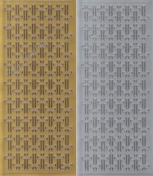 Kreuze in Gold oder Silber - Sticker - Format 10x23cm