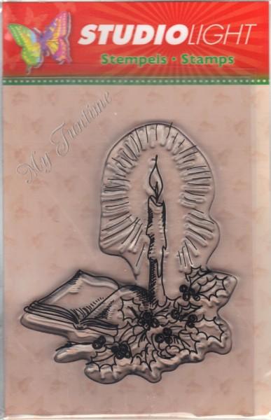 Adventskerze, Mistelzweig und Buch Stempel / Clearstamp