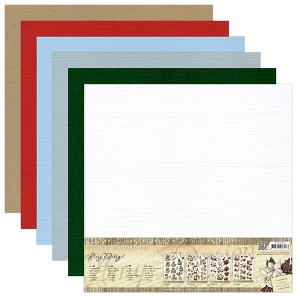 "Classic Christmas - Leinenpapier-Set - 12"" x 12"" - Amy Design"