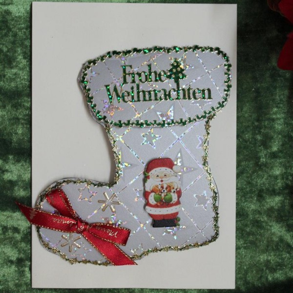 """Grusskarte zum Weihnachtsfest """"Stiefelkarte"""""""