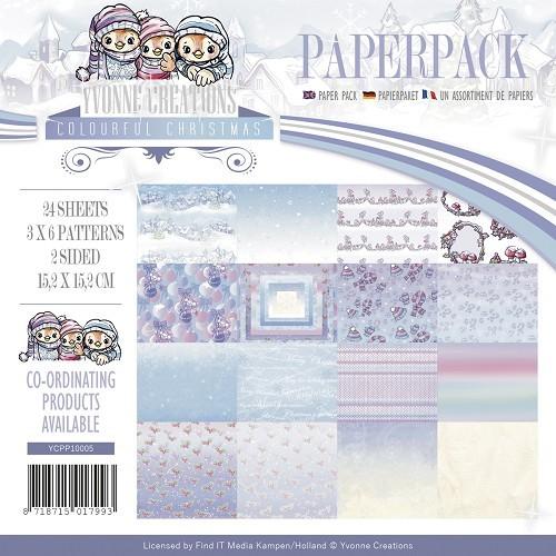 Motivpapier-Set / Scrapbook - Yvonne Creations - Colourful Christmas