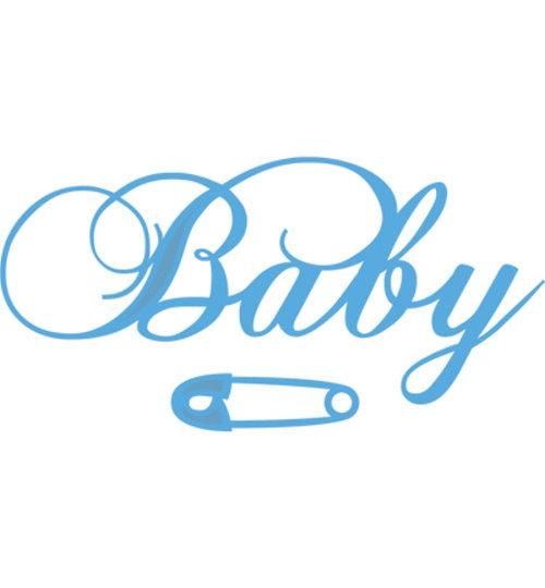 """Stanzschablone - Schriftzug """"Baby"""" und Windelklammer / Sicherheitsnadel"""