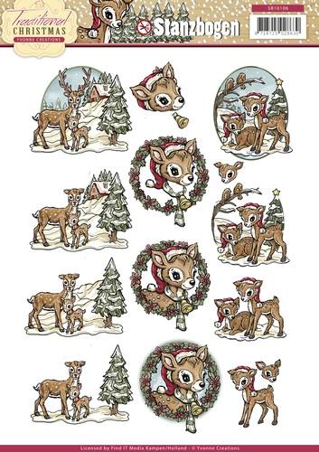 Rehe / Bambis - Traditional Christmas 3D - Stanzbogen
