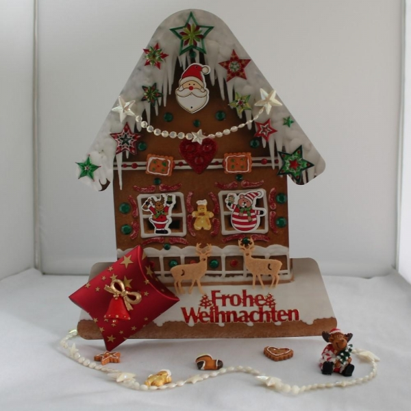 XXL-Grußkarte zum Weihnachtsfest mit kleiner Geschenkschachtel / Pillowbox