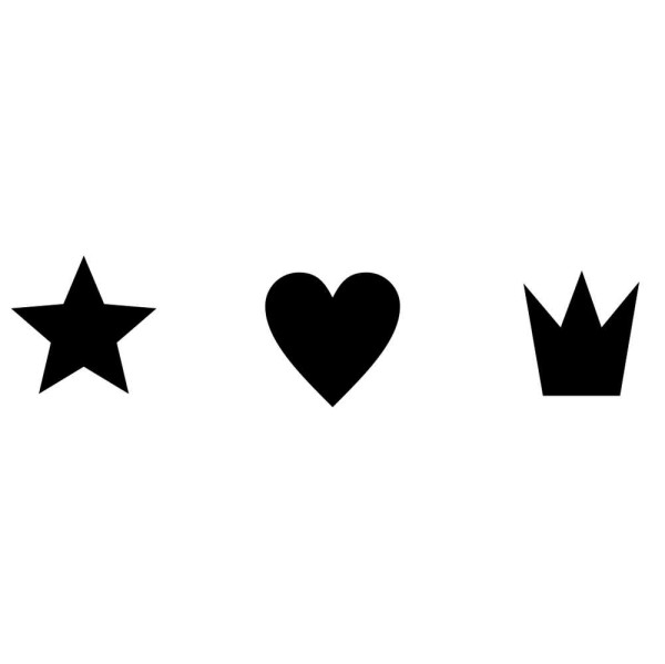 Stern, Herz und Krone (Set) - montierte Holz-Stempel
