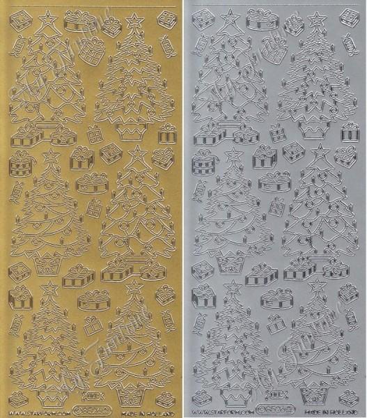 """Sticker - """"Weihnachtsbäume"""" in Gold oder Silber - Format 10x23cm"""