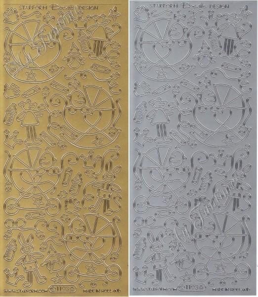 """Sticker - Baby - Kinderwagen in Gold oder Silber - Format 10x23cm """"Doodle Design Baby"""""""