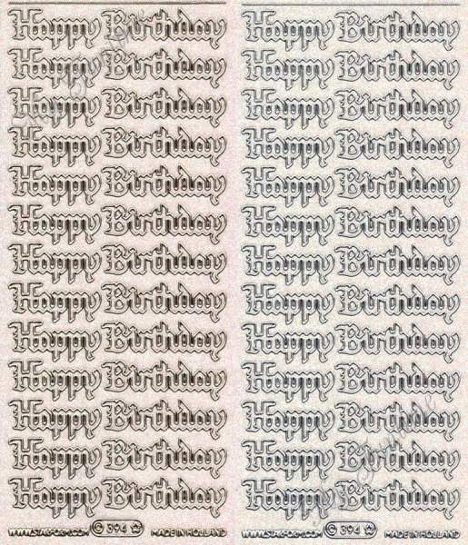 Happy Birthday - Transparente Sticker mit Glitter- / Glitzereffekt in Gold oder Silber - Format 10x2