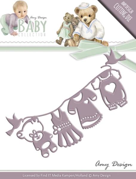 Wäscheleine / Clothes line mit Babykleidung - Stanzschablone