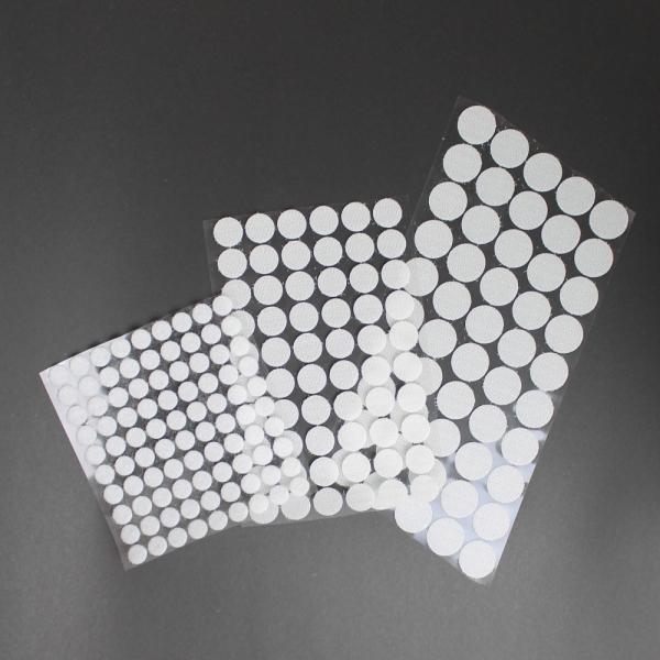 Selbstklebende Klettpunkte, rund 10 / 15 / 20 mm - weiß