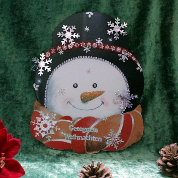 XL-Weihnachtskarte in Form eines Schneemannkopfes