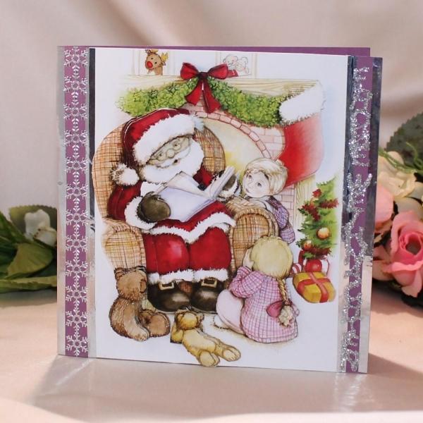 """Grußkarte zum Weihnachtsfest - 3D-Motiv """"Weihnachtsmann mit Kindern"""""""