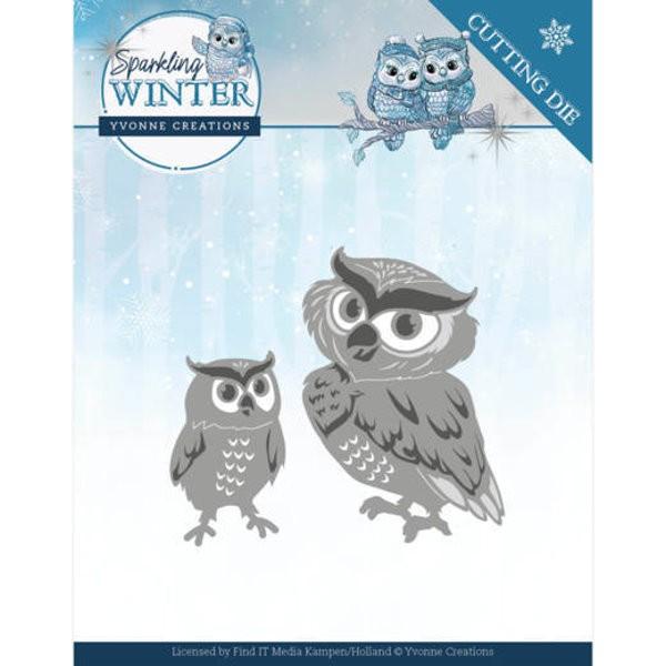 Eulen / Winter Owls - Stanzschablone