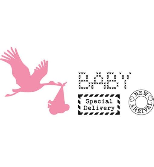 Storch mit Baby - Stanzschablone & Clearstamps im Set