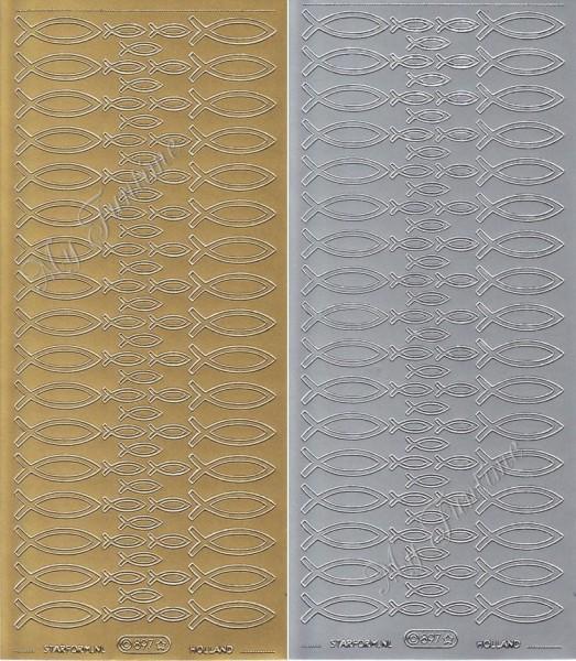 Sticker - eucharistische Fische in Gold oder Silber - Format 10x23cm