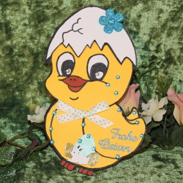 Grusskarte zum Osterfest - Kükenform