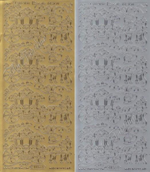 Sticker - Hochzeitskutsche in Gold oder Silber - Format 10x23cm