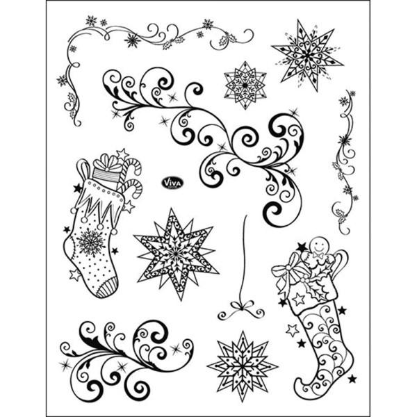 Weihnachtsstrümpfe + Schnörkel - Stempel / Clearstamp