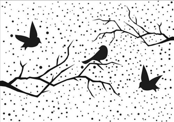 Weihnachtliche Landschaft mit Vögeln - Prägeschablone / Embossing Folder
