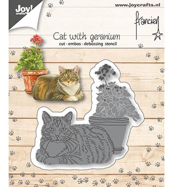 Katze mit Geranientopf - Stanzschablone