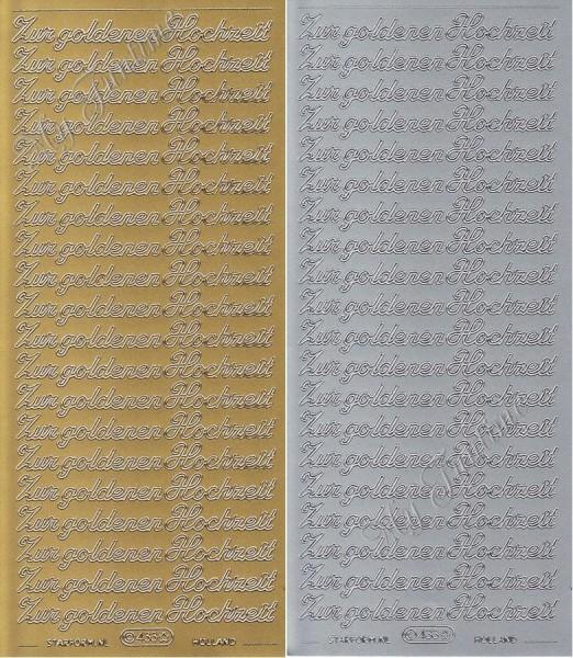 zur goldenen Hochzeit - Sticker in Gold oder Silber - Format 10x23cm