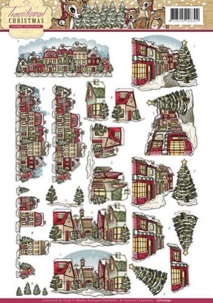 winterliche Häuser / Dorf - 3D - Schneidebogen