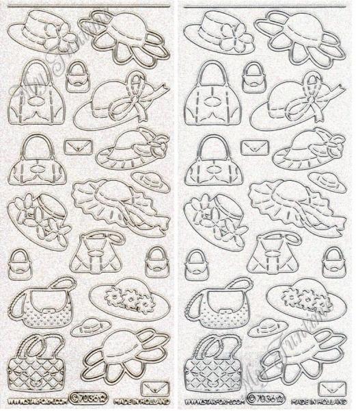 Handtaschen & Hüte - Transparentsticker mit Glitter- / Glitzereffekt in Gold oder Silber - Format 10