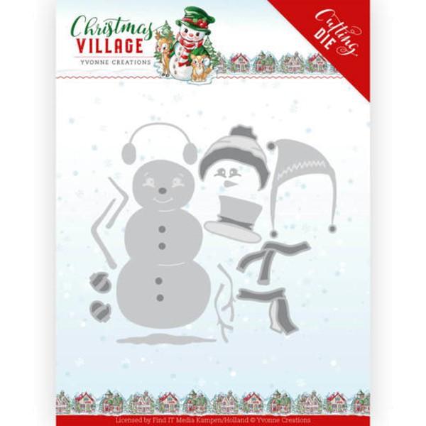Build up Snowman / Schneemann-Bausatz - Christmas Village - Stanzschablone