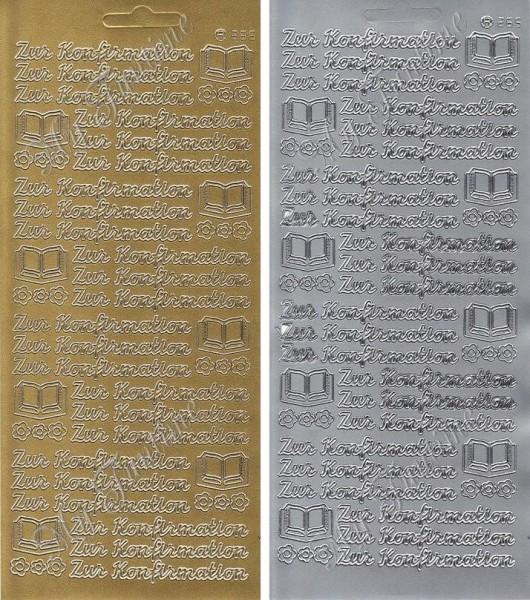 Zur Konfirmation - Sticker in Gold oder Silber - Format 10x23cm