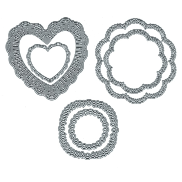 Formen (Herzen, Blumen, Kreise) - Stanzschablonen-Set