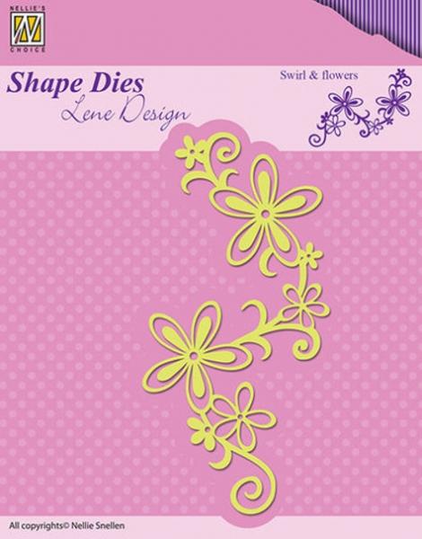 Zweig & Blumen / swirl & flowers - Stanzschablone