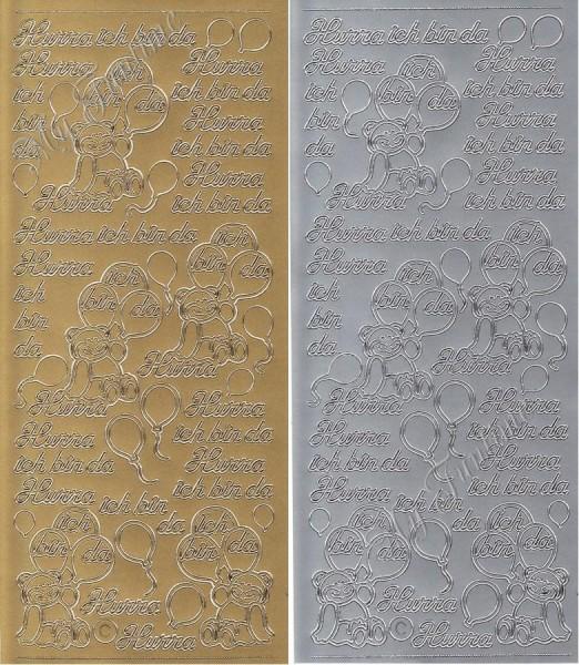"""Sticker - """"Hurra ich bin da"""" in Gold oder Silber - Format 10x23cm"""