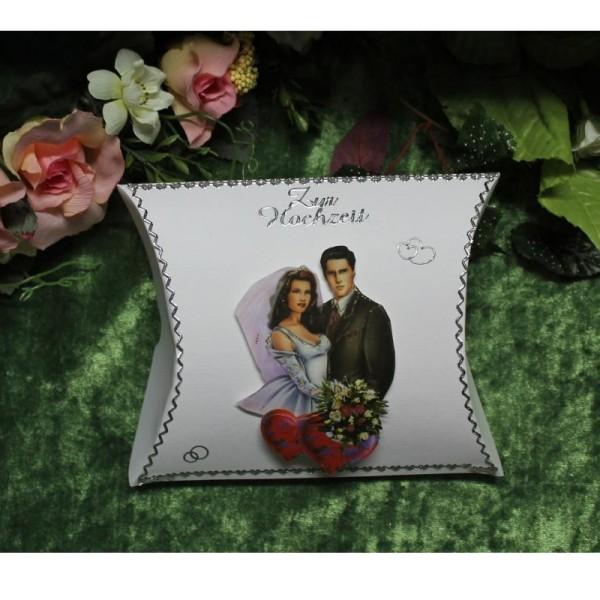 Geschenkbox zur Hochzeit - Kissenform / Raute