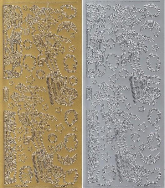 """Sticker - """"Weihnachtsmann mit Rentierschlitten"""" in Gold oder Silber- Format 10x23cm"""