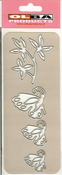 Stanzschablone - Blütenzweig & Schmetterlinge