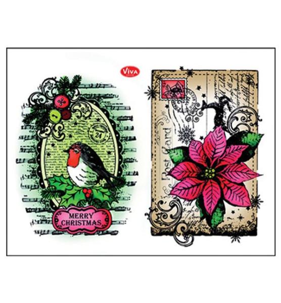 Rotkehlchen & Weihnachtsstern - Stempel - Clearstamp