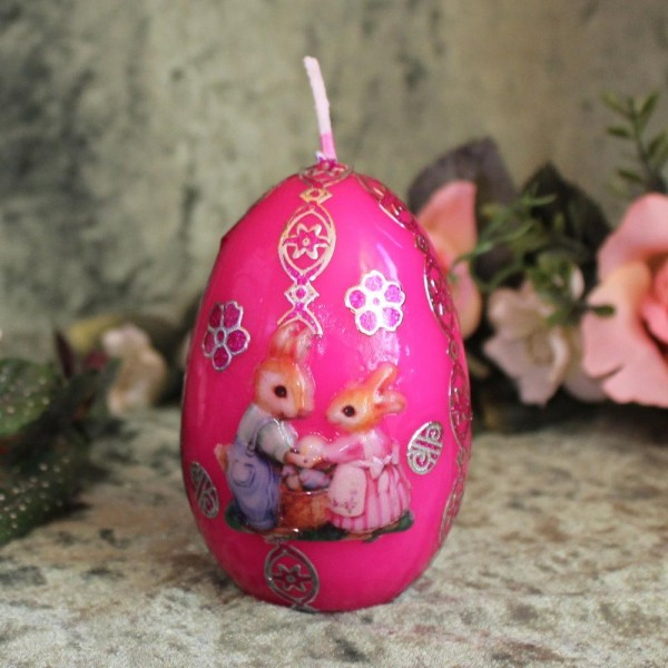 wunderschöne Kerze zum Osterfest - Pink