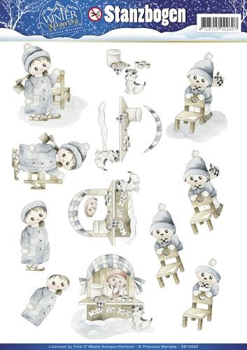 Kinder auf dem Eis - Winter Wonderland - 3D - Stanzbogen SB10069