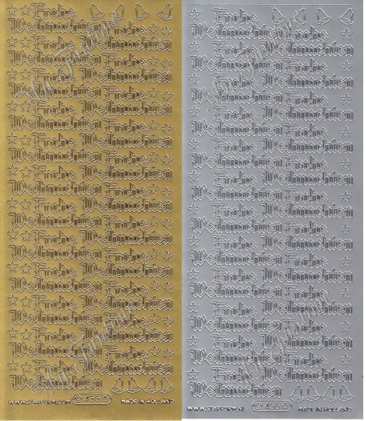 """Sticker - """"Frohe Weihnachten 3"""" in Gold oder Silber- Format 10x23cm"""