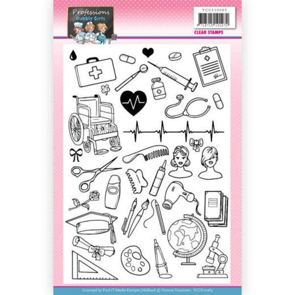 Bubbly Girls - Professions - Clear Stamp / Stempelplatte von Yvonne Creations (YCCS10065)
