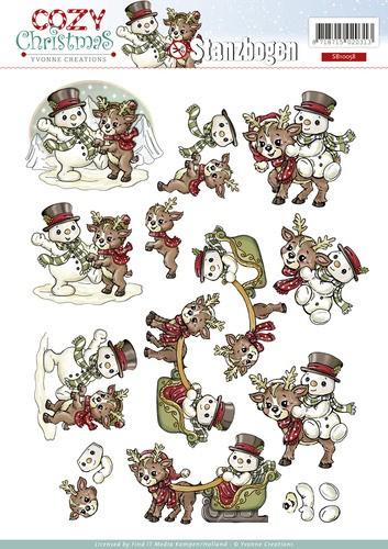 Weihnachtlicher 3D - Stanzbogen von Yvonne Creations - Schneemann und Rentier