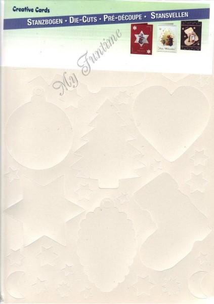 3-D Stanzbogen-Set - Weihnachtsmotive - perlmutt-weiß