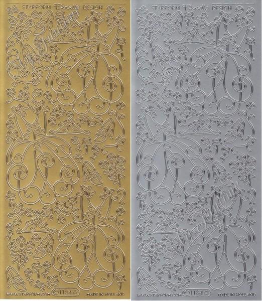 """Sticker - Kleider in Gold oder Silber - Format 10x23cm """"Doodle Design Dress"""" Set 1"""