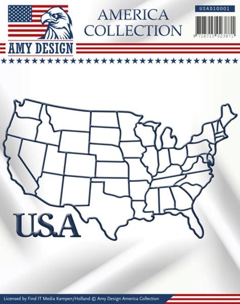 Stanzschablone - Karte der USA + Schriftzug: USA