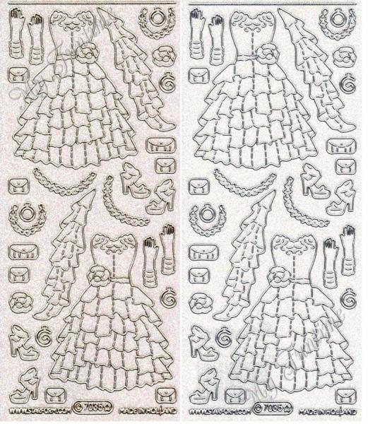 Charleston Dresses - Transparentsticker mit Glitter- / Glitzereffekt in Gold oder Silber - Format 10