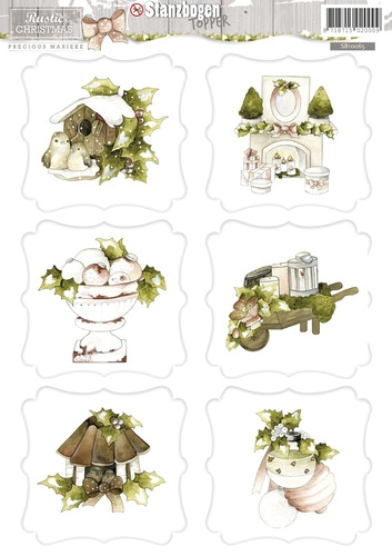3D - Stanzbogen - Rustic Christmas - Weihnachtsmotive - Topper SB10065