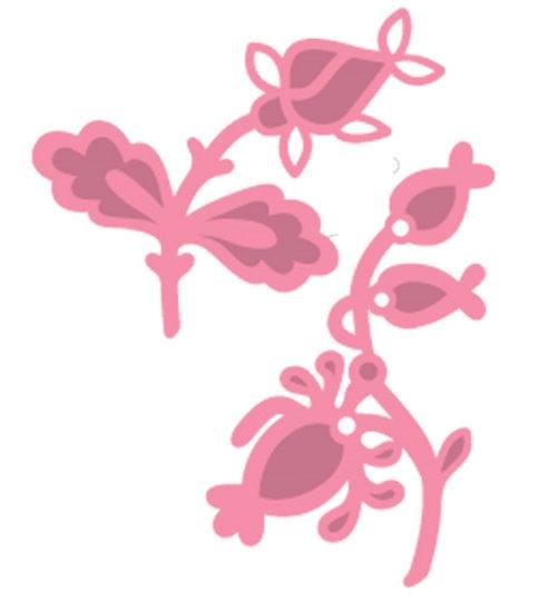 zwei Blumen - Stanzschablonen und Stempel im Set